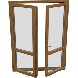 dvojkrídlové plastové balkónové dvere SALAMANDER SL76: otváravé + otváravo-sklopné, delené 1:1  šírka: 1100 výška: 2200