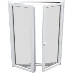 dvojkrídlové plastové balkónové dvere SALAMANDER SL76: otváravé + otváravo-sklopné, delené 1:1  šírka: 1200 výška: 2000