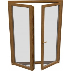 dvojkrídlové plastové balkónové dvere SALAMANDER SL76: otváravé + otváravo-sklopné, delené 1:1  šírka: 1300 výška: 2000