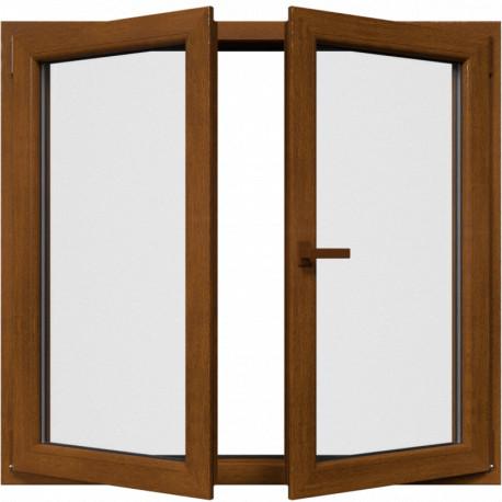 Dvojkrídlové plastové okno, otváravé + otváravo-sklopné, zlatý dub