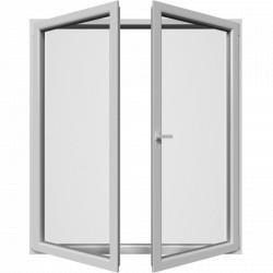 Dvojkrídlové balkónové dvere, otváravé + otváravo-sklopné