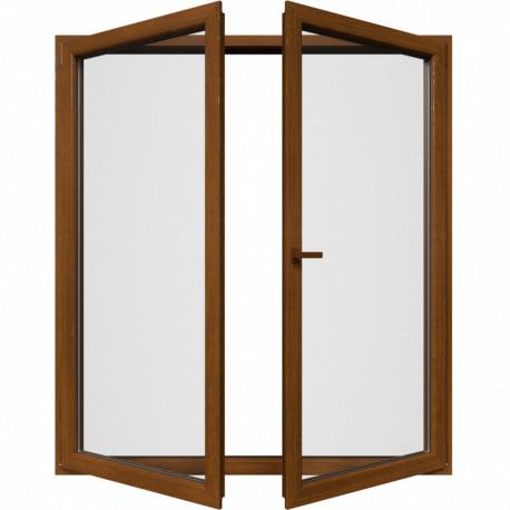 Dvojkrídlové balkónové dvere, otváravé + otváravo-sklopné, zlatý dub