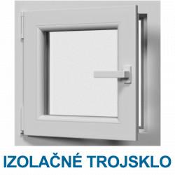 Jednokrídlové plastové okno, otváravo-sklopné, ĽAVÉ, Šírka: 550mm, Výška: 550mm, 3-sklo