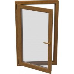 dvojkrídlové plastové balkónové dvere SALAMANDER SL76: otváravé + otváravo-sklopné, delené 1:1  šírka: 1200 výška: 2200