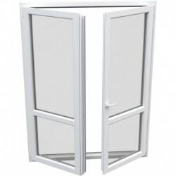 dvojkrídlové plastové balkónové dvere Aluplast Effect: otváravé + otváravo-sklopné, delené 1:1 šírka: 1500 výška: 2300