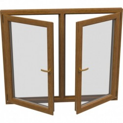 Dvojkrídlové plastové okno - otváravé + otváravo-sklopné, šírka: 1300mm, výška: 1400mm