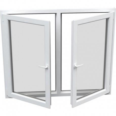 Dvojkrídlové plastové okno - otváravé + otváravo-sklopné, šírka: 2000mm, výška: 1500mm