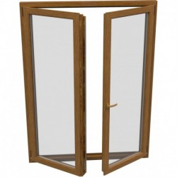 dvojkrídlové plastové balkónové dvere Aluplast Effect: otváravé + otváravo-sklopné, delené 1:1 šírka: 1100 výška: 2000