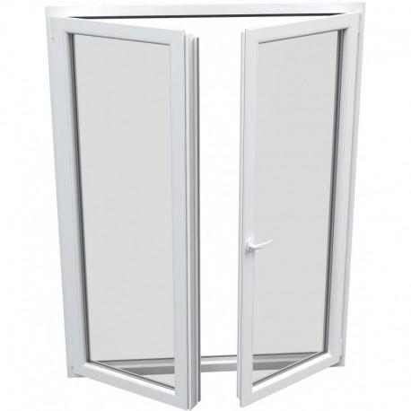dvojkrídlové plastové balkónové dvere Aluplast Effect: otváravé + otváravo-sklopné, delené 1:1  šírka: 1200 výška: 2000