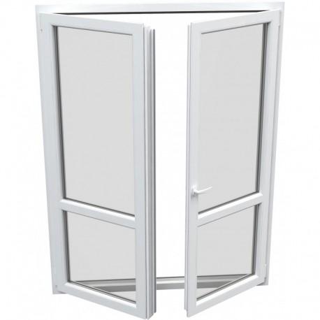 dvojkrídlové plastové balkónové dvere Aluplast Effect: otváravé + otváravo-sklopné, delené 1:1  šírka: 1200 výška: 2200