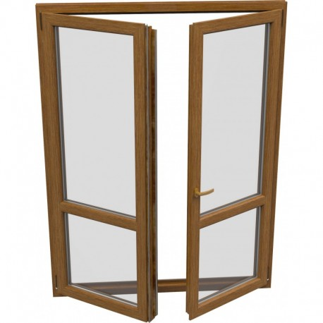 dvojkrídlové plastové balkónové dvere Aluplast Effect: otváravé + otváravo-sklopné, delené 1:1 šírka: 1300 výška: 2200