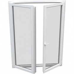 dvojkrídlové plastové balkónové dvere Aluplast Effect: otváravé + otváravo-sklopné, delené 1:1 šírka: 1500 výška: 2000