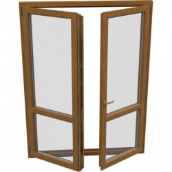 dvojkrídlové plastové balkónové dvere Aluplast Effect: otváravé + otváravo-sklopné, delené 1:1 šírka: 1500 výška: 2200