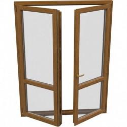 dvojkrídlové plastové balkónové dvere Aluplast Effect: otváravé + otváravo-sklopné, delené 1:1 šírka: 1600 výška: 2200