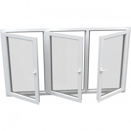 trojkrídlové plastové okno Aluplast Effect: otváravé + otváravé + otváravo-sklopné, delené 1:1:1 šírka: 2000 výška: 1400