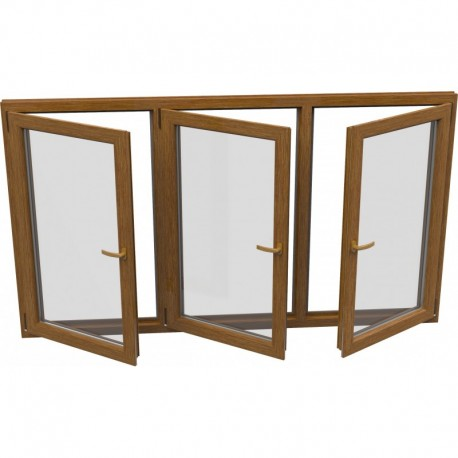 Trojkrídlové plastové okno - otváravé + otváravé + otváravo-sklopné, šírka: 2000mm, výška: 1400mm