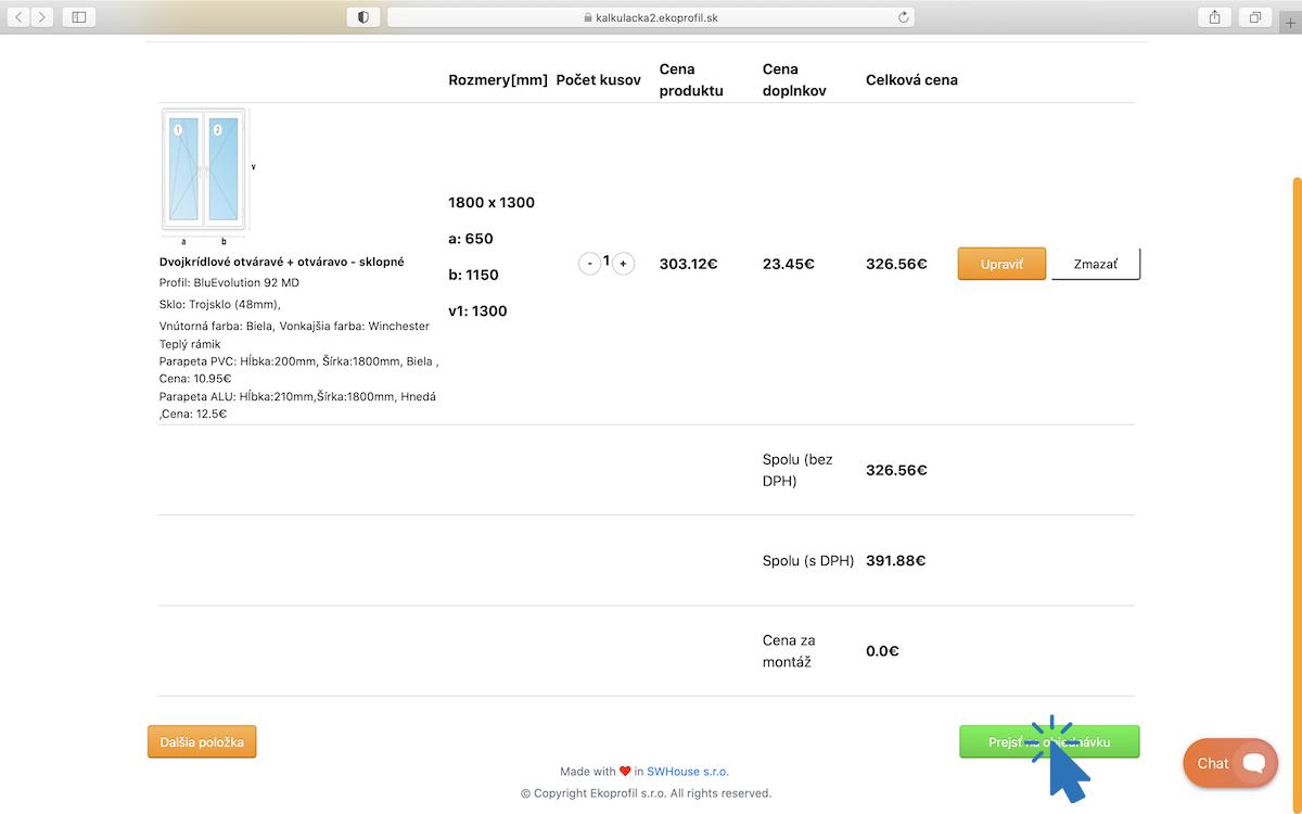 Prehľad nezáväznej cenovej ponuky a dokončenie objednávky.